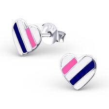Girls White Stripe Heart Sterling Silver Stud Earrings