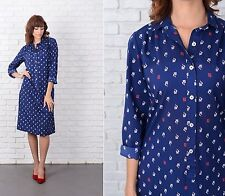 Vintage 80s PIERRE BALMAIN Dress navy Blue Red Shift shirtdress Medium PB