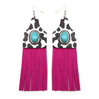 COW PRINT Hot Pink Fringe Cowgirl Western Rodeo Suede Tassel Concho Southwest
