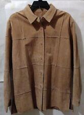 Dialogue Women's Leather Shirt Jacket Coat Tan Vintage Square Patchwork Meduim