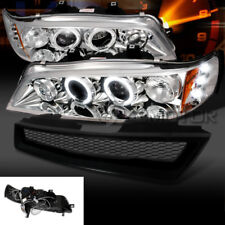 For 94-97 Honda Accord LED Halo Projector Headlights+Mesh T-R Grille