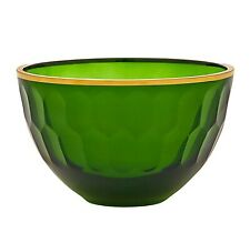New Oscar De La Renta Emerald Glass Gold Trim Gallery Med Bowl Dish