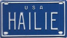 HAILIE USA BLUE Vintage Mini License Plate  - Name Tag - Bicycle Plate!