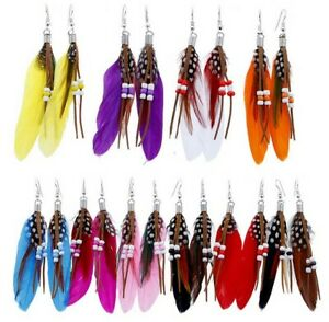 20pairs assorted color feather with beads dangle earrings 8cm long