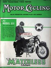Aug 29 1957 MATCHLESS Clubman Model G11 Motor Cycle ADVERT: Magazine Cover Print
