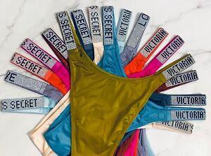 Victoria's Secret LOGO Rhinestone Shine Strap Brazilian Panty XS S M L XL