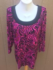New Soldout $89 Chico's Travelers Black & Pink Top Shirt Size 3 = XL 16 18 NWT