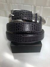 Men's Dark Gray Leather Belt | Silver Buckle | Size 48