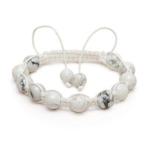 Shamballa Gemstone Bracelet Howlite Crystal Snow white Grooms gift UK Made