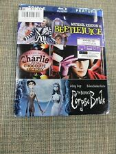 Tim Burton Triple Feature Beetlejuice Charlie and the Chocolate Factory Blu-ray