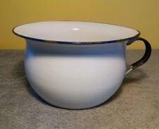 Antique Enamel Chamber Pot - K.E.R Sweden - (white & black & blue - vintage)