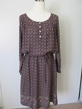 Natural Reflections Brown Floral 3/4 Sleeve Belted Rayon Boho Dress NWOT SZ: L