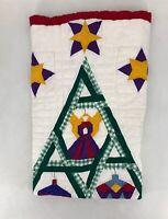"""Handmade Quilt Christmas White Purple Green Red Yellow 46"""" X 58"""""""