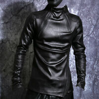 Mens PU Leather Slim Long Sleeve Pullover Shirts Punk Black Tops Size Black NEW