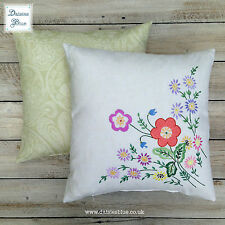 Pretty Flowery Embroidered Vintage Cream Linen Square Cushion Cover Pillow Coral