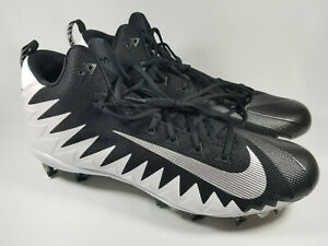 Nike Alpha Menace Pro Mid Football Cleats, 871451-103, Black / White, Men's 18,