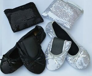 Sequin Fold Up Flats Roll Up Pumps Fold Up Shoes Post Party Pumps With Free Bag!