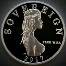 1 oz .999 SILVER PROOF ROUND FREE WILL SOVEREIGN BULLION  FREEDOM GIRL NUDE COIN