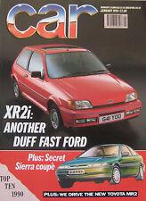 CAR 01/1990 featuring Ford XR2i, Lotus Esprit, Jaguar XJS, BMW M3, Mercedes