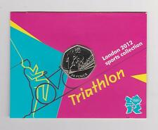 TRIATHLON - Rare 50p Olympic LONDON 2012 Fifty Pence Uncirculated Coin in Folder
