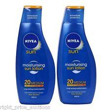 NIVEA Sun Cream Immediate Protection Moisturising Sun Lotion SPF 20 2 x 400 ml