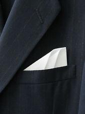 POCKET SQUARE - White Double Fold Angled Point CUSTOM- Pre-folded & Sewn