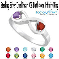 February Dual Heart CZ Birthstone Infinity Sterling Silver Ring Mix Stones!!