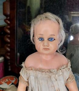 c1860 Lil Survivor Reinforced Head &Poured Limbs Antique Wax Doll Exquisite Eyes