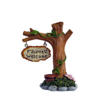Miniature Dollhouse FAIRY GARDEN - Fairies Welcome Tree Sign - Accessories