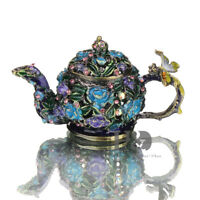 Handmade Crystal Metal Teapot Trinket Boxes Figurines Wedding Ring Holder Gifts