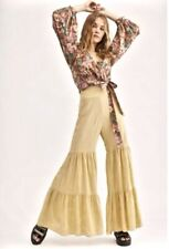 Free People Pant Comfy Tiered Embroidery Wide Yellow Elastic Pull On XS NEW