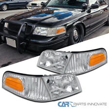 For 98-11 Ford Crown Victoria Clear Headlights+Corner Turn Signal Lamps Pair