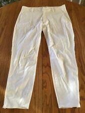 HELMUT LANG White Cropped Pants Size 8 With Zipped Legs