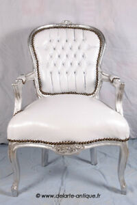 LOUIS XV ARM CHAIR FRENCH STYLE CHAIR VINTAGE WHITE LEATHER LOOK SILVER WOOD