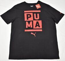 Puma T-Shirt Men's Size XL Stacked Puma Crewneck Logo Graphic Tee Black Red P059