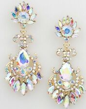 "2.75"" Long Bridal Rhinestone Crystal Gold AB Clear Aurora Borealis Earrings"