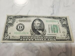1934 C $50.00 Fifty Dollar Federal Reserve Note Circulated Decent Shape