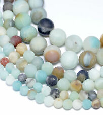 Amazonit Perlen matte mehrfarbige Kugeln 4 - 18 mm  1 Strang Hammerangebot #4057
