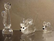 3 Bleikristall-Figuren KATZE & 2 MÄUSE Kleine & Große Maus Geschenkidee Rarität