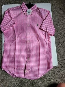 """NWT RALPH LAUREN """"Classic Fit"""" Short Slvd Shirt in Pink/White POLO, Mens S"""