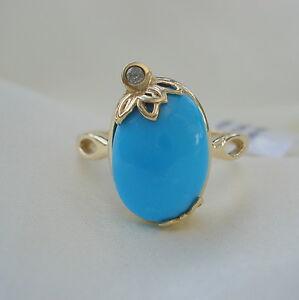 5.03ct AA Natural Sleeping Beauty Turquoise & Diamond Gold Ring