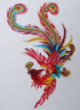 "5082 10-1/4"" Red Colorful Phoenix,Peacock Bird Embroidery Iron On Appliqué Patch"