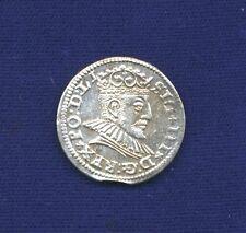 POLAND (RIGA) SIGISMUND III 1590  3 GROSCHEN (GROSSUS)(TROJAK) SILVER COIN, AU+