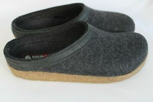 Haflinger GRIZZLY Charcoal Gray Wool Slippers Clogs Mens Sz 44 / US 11