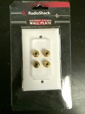 (10 pc) RadioShack Speaker 24K Gold Plated Wall Plate 4 Terminal Binding Post