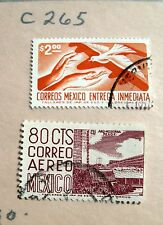 2 VTG Canceled Stamps Mexico C265 80c Correo Aereo Mexico & $2 Entrega Immediata