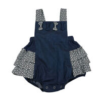 Infant Baby Bowknot Jumpsuit Cowboy Suspender Clothes Girls Loose Set Outfit New