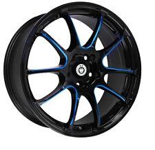 17X7 KONIG ILLUSION 5X114.3 +40 Black/Ball Cut Blue Wheels (Set of 4)