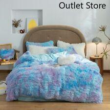 Plush Shaggy Velvet Double Duvet Cover Set Bed Sheet Pillowcases Bedding Set