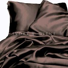 Chocolate Brown Satin Sheet Set KING Size Silk Feel 4pc Luxury Bedding Set New